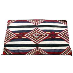 Fine 3rd Phase Style Navajo Chief Pattern rug. Measures 76 X44 . Wide blue and black horizontal stri