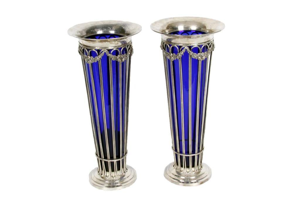 Pair Sterling Silver Cobalt Blue Glass Vases From And Estate In