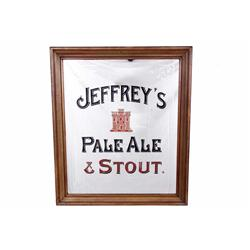 Jeffreys Pale Ale & Stout Advertizer with Mirror with wood frame. Measures 26 W X 32 H.with wood fra
