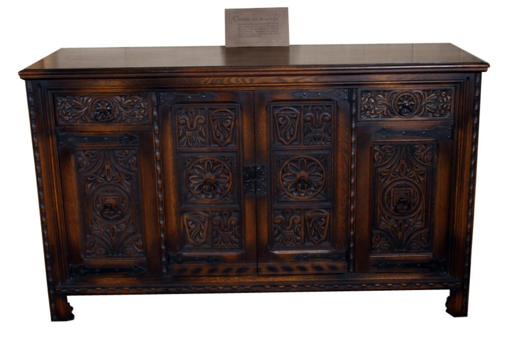 ranch style hand carved oak buffet wrought iron handles. Black Bedroom Furniture Sets. Home Design Ideas