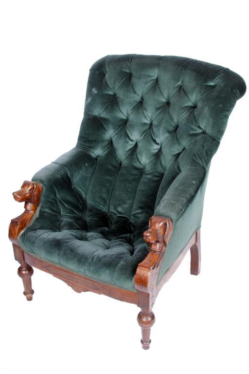 Pair of gentlemen s edwardian style arm chairs hand carved