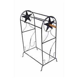 "Wrought Iron Saddle Stand with Texas Star Size is 38""H X 24""W.Size is 38""H X 24""W."