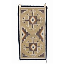Navajo Textile Weaving with geometric design. In overall good condition with some minor losses to on