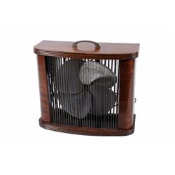 Antique Electric Fan Cased in Wood by the Mathes Cooler Co., 110V, 4 speed control. In working condi