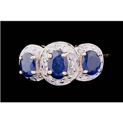 Vibrant 14K Yellow Gold Ladies Ring set with three oval blue Sapphires weighing approx 2.00 carats a