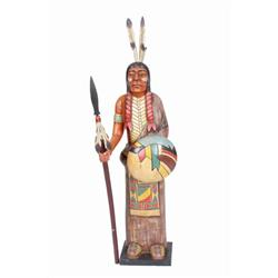 "Carved Wooden Indian Holding a Spear Measures 48""H X 17 1/2""W.Measures 48""H X 17 1/2""W."