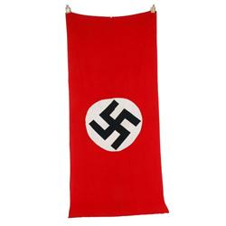 "Original German Nazi Building Flag measures 46 1/2""W X 109""L.  A bring back from the war. In excelle"