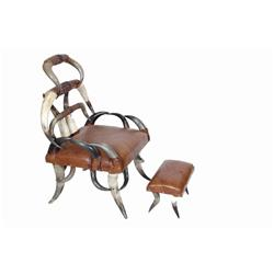 Decorative Horn Chair patterned leather bindings, faux leather upholstery, with matching ottoman.pat