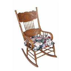 American Oak Pressed Back Rocking Chair cane seated with bent wood oak arms. Excellent overall.cane