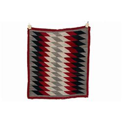 Navajo All Natural Textile Weaving with geometric design in black, red, green, and grey. Size is 52
