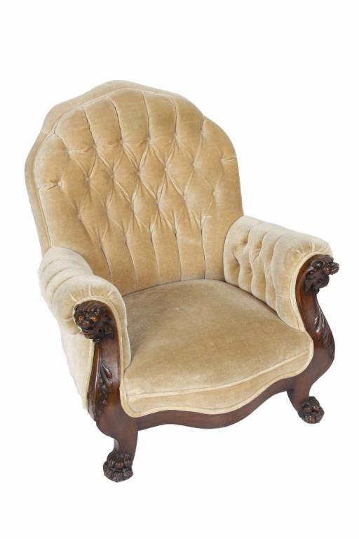 Antique Club Chair With Carved Lionu0027s Head Arms And Claw Feet With  Button Back Tan. Loading Zoom