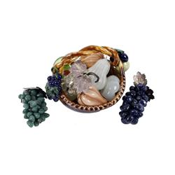 Austrian Ceramic Basket with Italian glass fruit and 3 decorative clusters of glass grapes in blue,