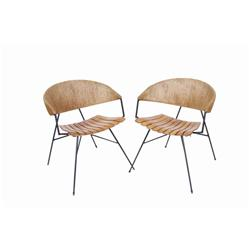 "Set of Two Plank Seated Club Chairs with wicker wrapped backs. 48""H X 22""W X 24"" deep.with wicker wr"