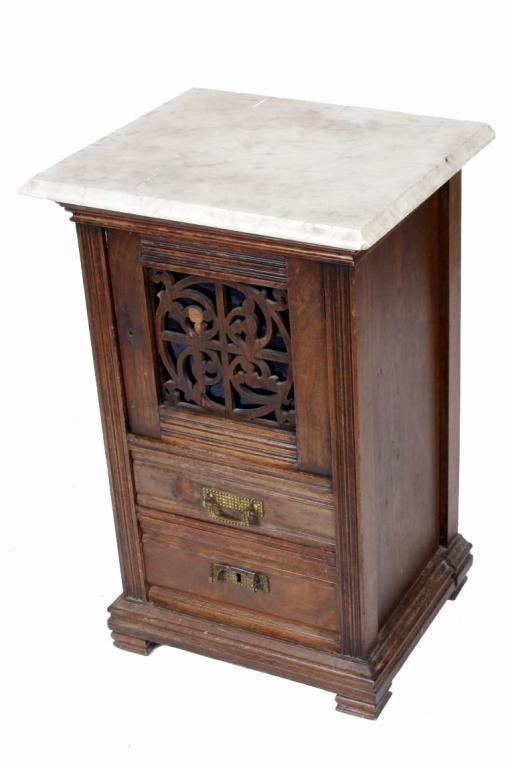 Marvelous Victorian Marble Top Side Table With 2 Drawers. 29 H X 19 W X 16 Deep.  Loading Zoom