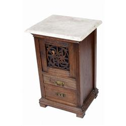 Victorian Marble Top Side Table with 2 drawers. 29 H X 19 W X 16  deep. In overall fair condition. N