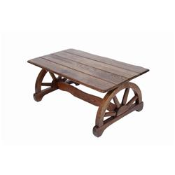 Oak wagon wheel western coffee table measures 40 l x 22 w for Coffee table 70 x 40