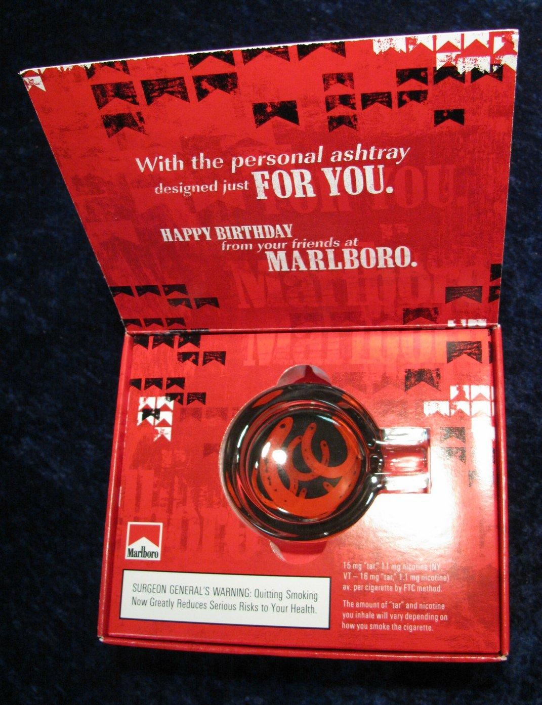 266. Marlboro Glass Ashtray Birthday Gift. In Original Package.