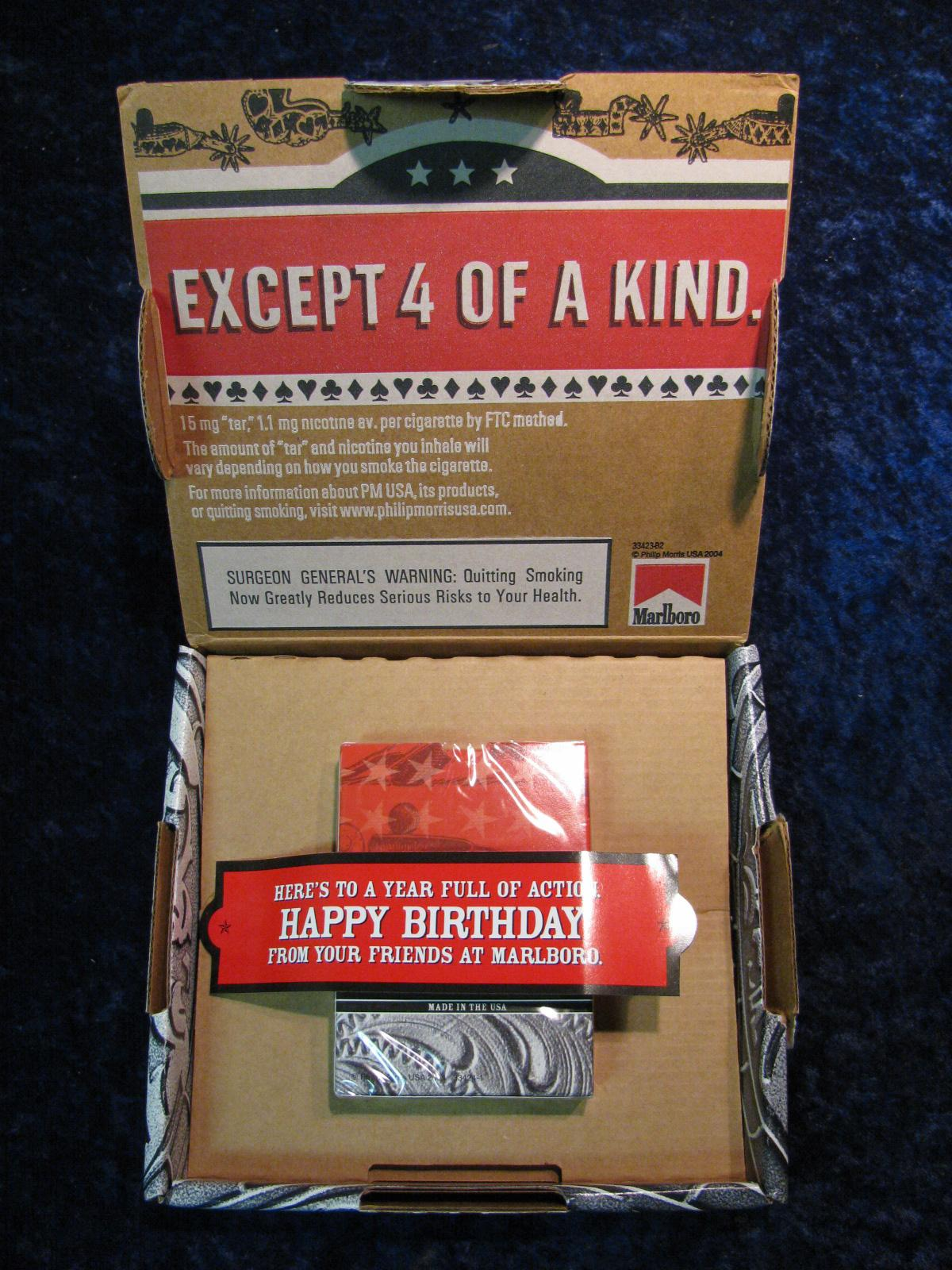 269. Marlboro Collector Poker Cards Birthday Gift. N Original Package.