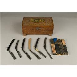 Group of 6 Antique Razors and Wood Jewelry Box