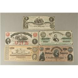 5 Note Confederate Currency Lot