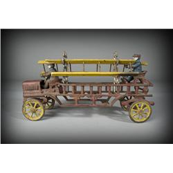 Vintage Cast Iron Wagon Fire Truck