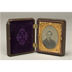 Antique Tintype Photo in Gutta Percha Frame