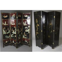 Lacquered Oriental Screen with Hardstone