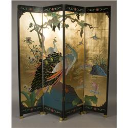 Late 19th/Early 20th C. Oriental 4 Paneled Screen
