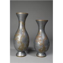 Pair of Chinese Pewter and Brass Vases