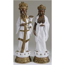 Pair of Large Pottery Asian Royalty Figures