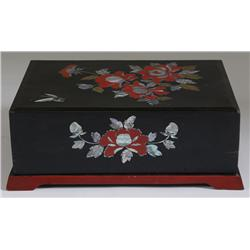 Japanese Lacquered & Inlaid Storage Box
