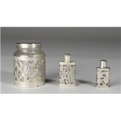 3 Piece Mexican Sterling Overlay Vanity Bottles