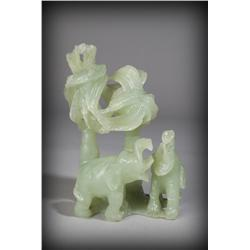 Chinese Jade Carved Elephants & Palm Trees