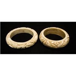 2 Chinese Carved Bone Bangle Bracelets