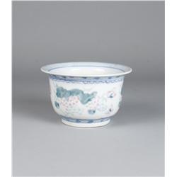 Chinese Famille Verte Porcelain Fish Bowl