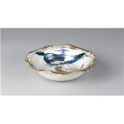 Japanese Painted Pottery Bowl With Abstract Design