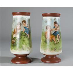 Pair of Transfer and Painted White Glass Vases