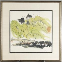 20th C. Japanese Watercolor on Paper