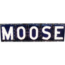"Large 5 Piece ""MOOSE"" Light-Up Porcelain Sign,"