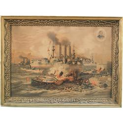 Original 1898 Print - The Destruction of Admiral Cerver