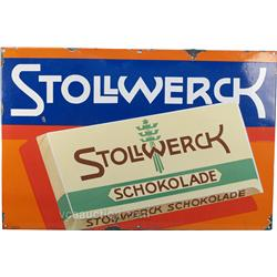 Original Stollwerck Embossed Porcelain Sign c1919