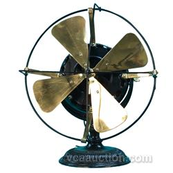 Cast-Iron Base 4-Brass Blade Countertop Fan