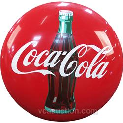Large Coca Cola Tin  Button  Sign