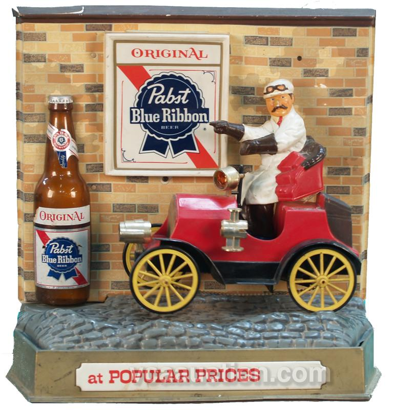 Plastic Light Up Motion Pabst Blue Ribbon Beer Sign