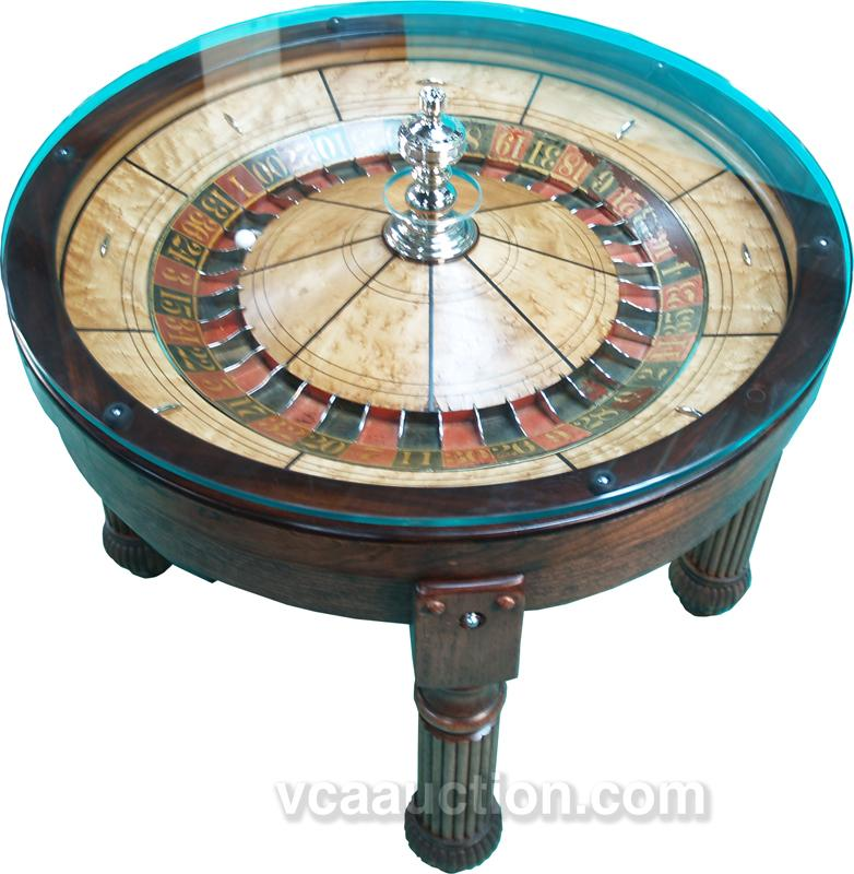 HC Evans Antique Roulette Wheel Coffee Table