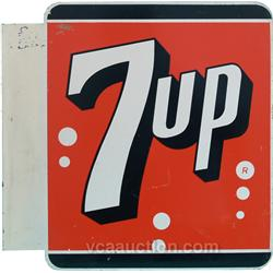 7UP Double Sided Flange Tin Sign - 16  x 16 
