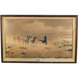 Free As The Wind  Horse Western Print by Auguste Albo,