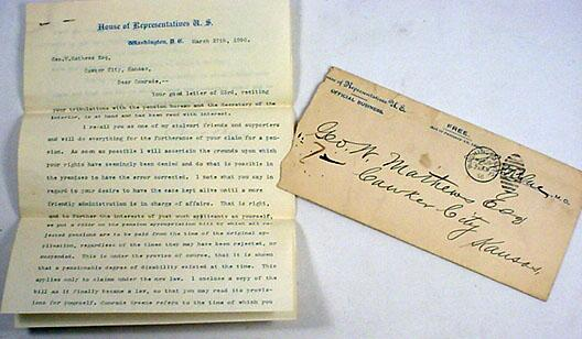 1896 LETTER FROM US HOUSE OF REPRESENTATIVES TO A