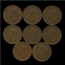1944-1952 New Zealand AU+ 1/2 Penny Set  (COI-1271)