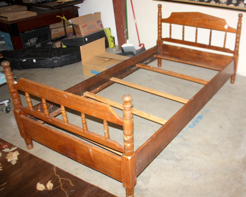 Antique Wood Twin Bed Frame